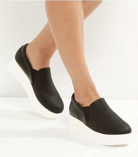 Black Croc Texture Platform Slip On Plimsolls | New Look