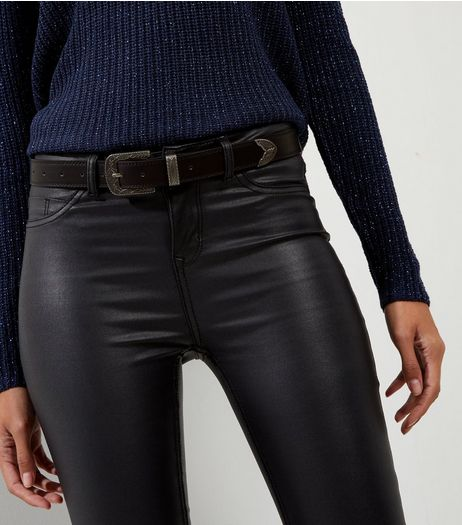 Black Leather-Look Western Buckle Belt | New Look