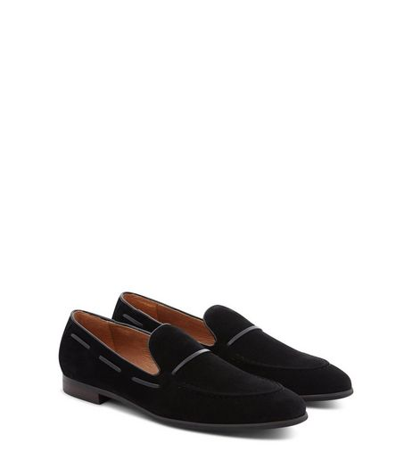 Black Suedette Contrast Trim Loafers | New Look