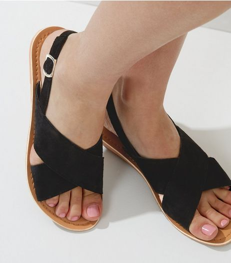 Black Suedette Cross Strap Sandals | New Look