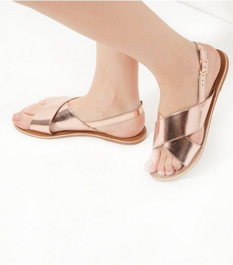 Rose Gold Leather Folding Cross Strap Sandals | New Look