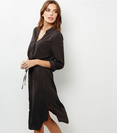 Black Polka Dot Print Drawstring Waist Shirt Dress | New Look