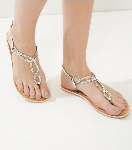 Cream Leather Beaded Twist Sandals | New Look