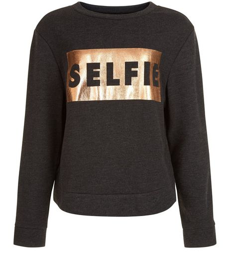 Teens Dark Grey Vibes Foil Print Sweater | New Look