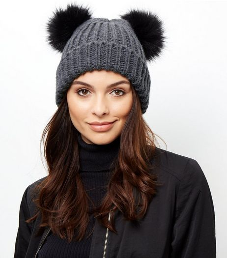 Grey Double Faux Fur Pom Pom Hat | New Look