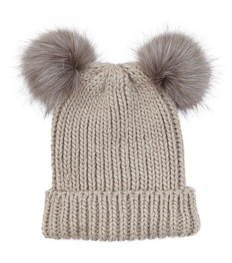 Mink Double Faux Fur Pom Pom Hat | New Look