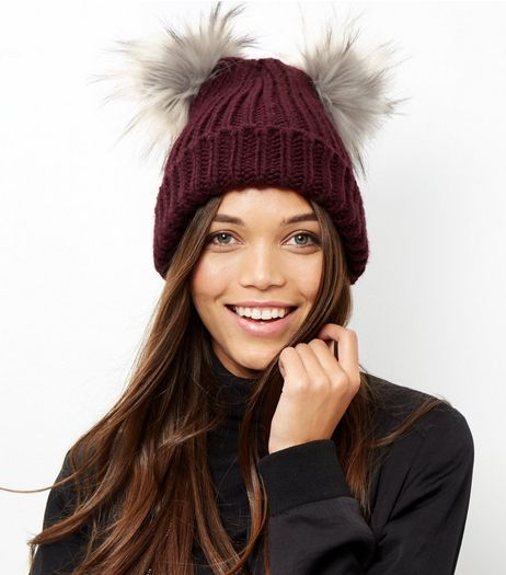 Burgundy Double Faux Fur Pom Pom Hat | New Look