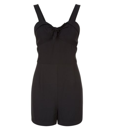 Teens Black Bow Front Playsuit  | New Look