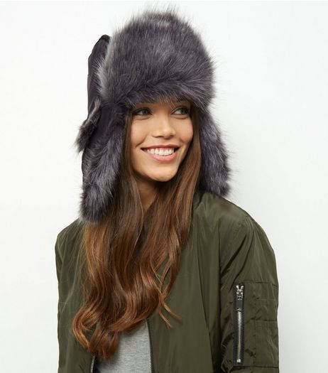 Black Faux Fur Trapper Hat | New Look