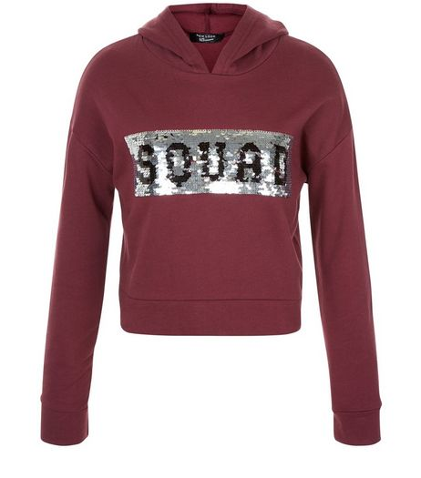 Girls Dark Red Sequin Squad Print Hoodie  | New Look