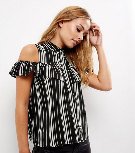 Black Stripe Frill Trim Cold Shoulder Shirt  | New Look