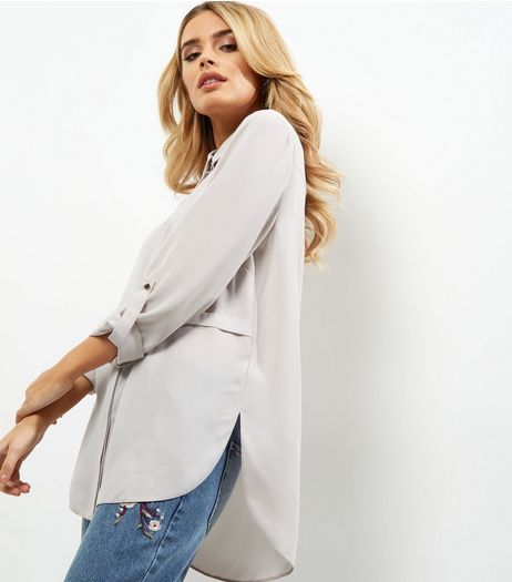 Mink Seam Trim Longline Shirt  | New Look