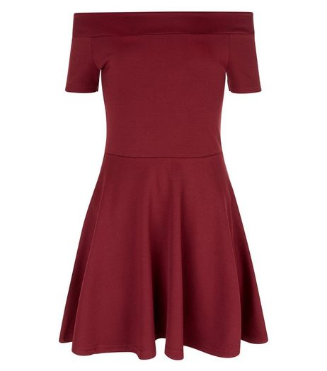 Girls Burgundy Textured Bardot Neck Dress  | New Look