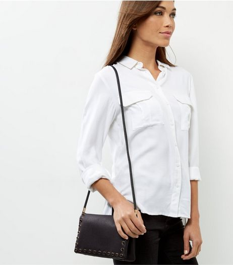 Black Leather-Look Gem Stone Cross Body Bag | New Look