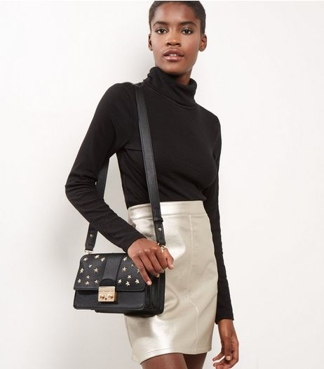 Black Star Stud Cross Body Bag | New Look