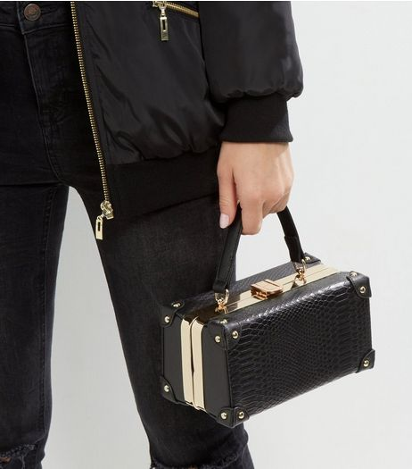 Black Snakeskin Mini Luggage Box Bag | New Look