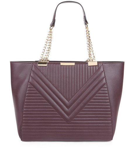 Burgundy Quilted Chain Tote Bag | New Look