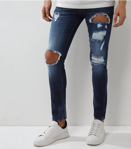 Dark Blue Distressed Skinny Jeans | New Look