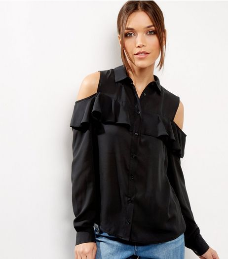 Black Frill Trim Cold Shoulder Shirt  | New Look