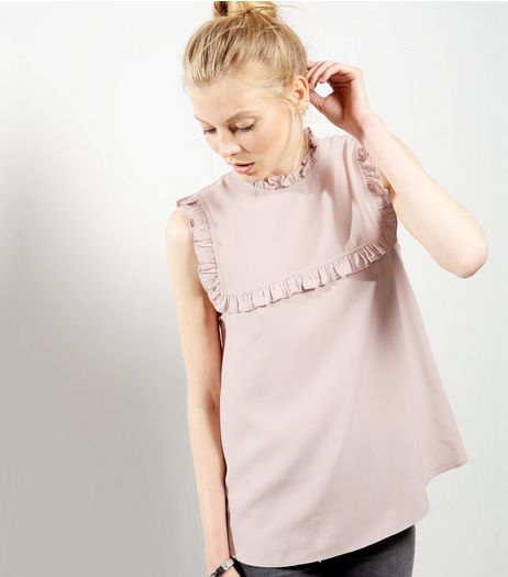 Mid Pink Frill Trim Funnel Neck Shell Top | New Look