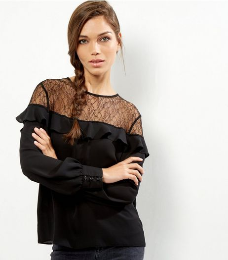 Black Lace Panel Frill Trim Long Sleeve Top  | New Look