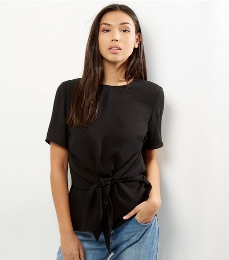 Black Tie Front Short Sleeve Top  | New Look