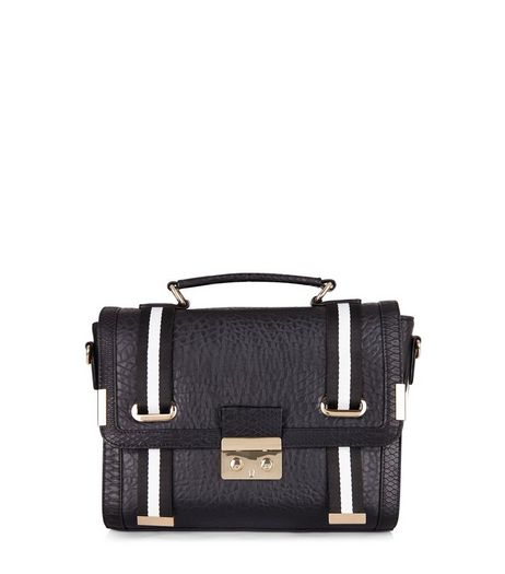 Black Leather-Look Contrast Trim Satchel | New Look