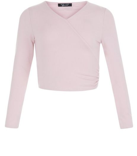 Girls Pink Wrap Crop Top | New Look