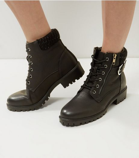 Black Lace Up Knitted Cuff Boots | New Look