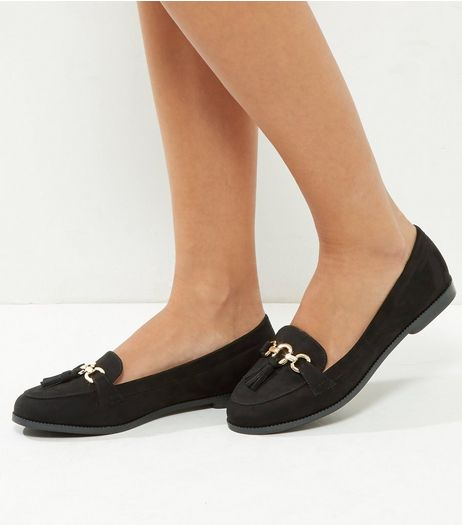Wide Fit Black Suedette Ring Bar Loafers | New Look