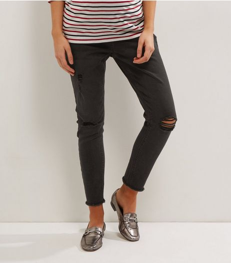 Matenity Black Washed Over Bump Ripped Knee Jeggings  | New Look