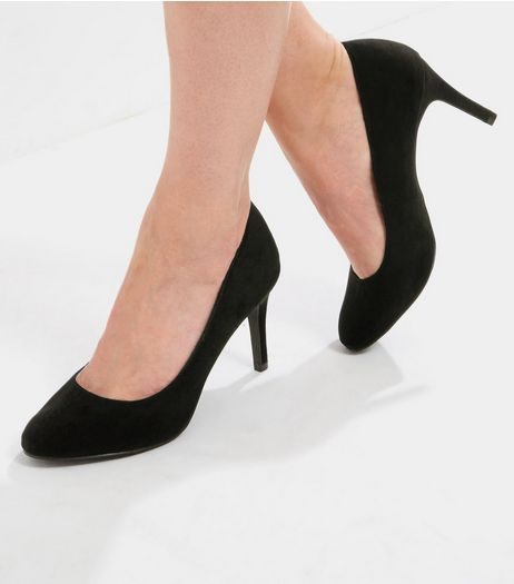 Black Comfort Suedette Court Shoes | New Look