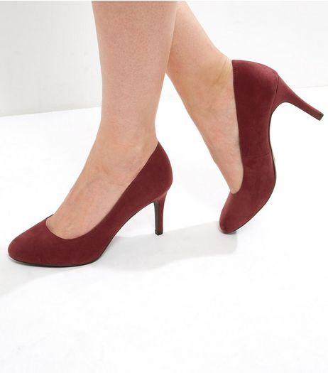 Dark Red Comfort Suedette Court Shoes