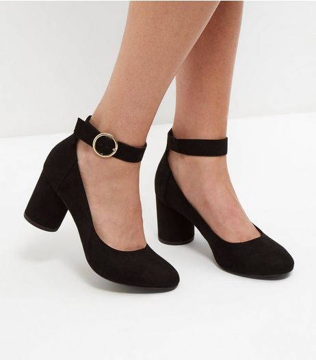 Wide Fit Black Ankle Strap Block Heels | New Look