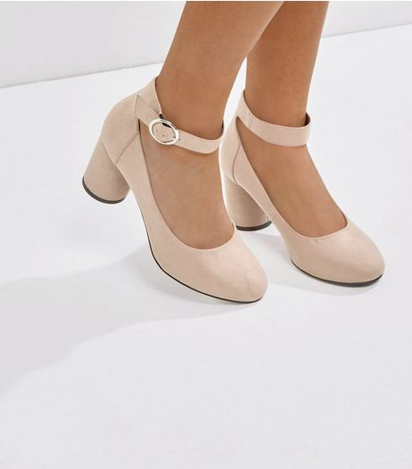 Wide Fit Mink Suedette Cylindrical Block Heels | New Look