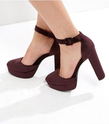Purple Velvet Platform Ankle Strap Heels | New Look
