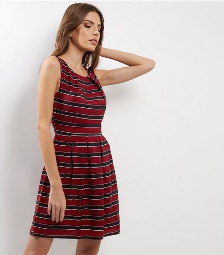 Mela Burgundy Contrast Stripe Dress | New Look