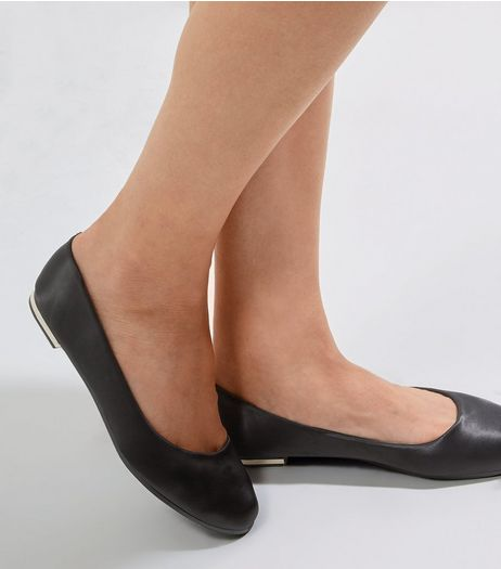 Black Sateen Metal Trim Pumps | New Look