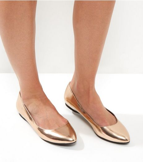 Gold Metallic Pointed Pumps | New Look