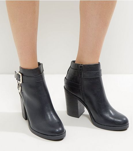 Black Comfort Buckle Heeled Boots | New Look