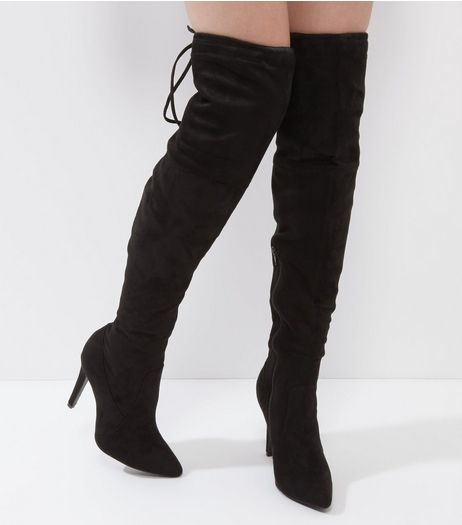 Black Suedette Pointed Tie Up Over The Knee Heeled Boots | New Look