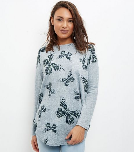 Blue Vanilla Light Green Butterfly Print Top | New Look