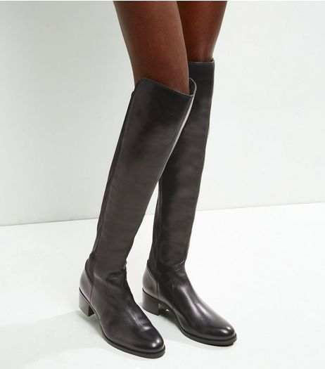 Black Leather Over The Knee Boots | New Look