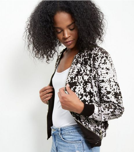 Blue Vanilla Black Sequin Bomber Jacket  | New Look
