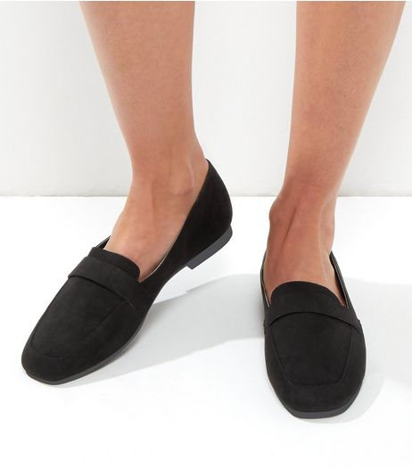 Wide Fit Black Suedette Square Toe Loafers | New Look