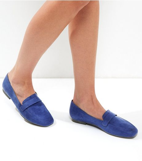 Wide Fit Blue Suedette Square Toe Loafers | New Look