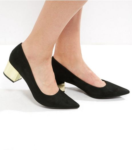 Black Suedette Metal Block Heel Pointed Court Shoes | New Look