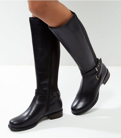 Black Leather Cross Strap Knee High Boots | New Look