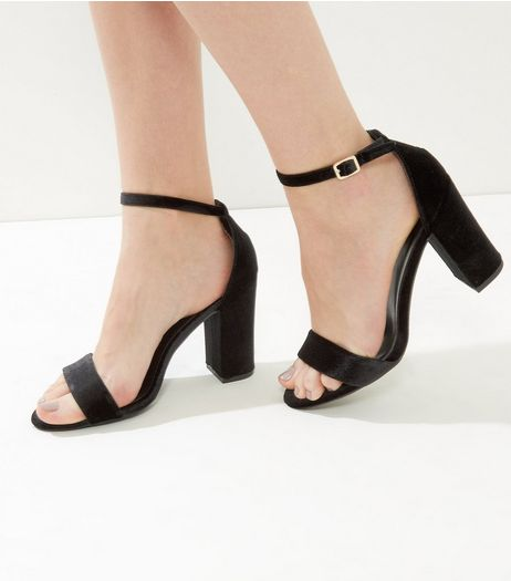 Black Velvet Block Heels  | New Look