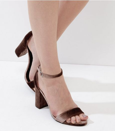Brown Velvet Block Heels | New Look
